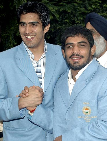 Sushil Kumar (right) with Vijender Singh