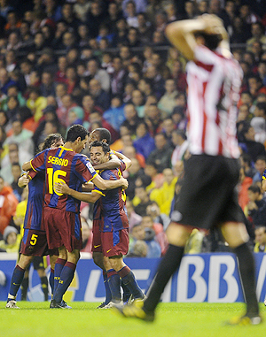 Barcelona's players celebrate after scoring against Athletic Bilbao on Saturday