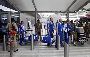 Members of the Scotland team arrive in New Delhi on Sunday for the Commonwealth Games