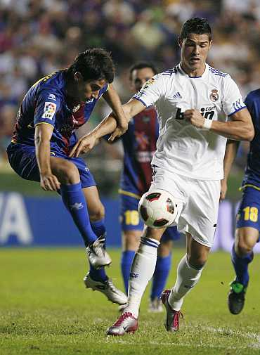 Cristiano Ronaldo in action during a La Liga match