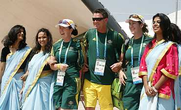 Australian athletes alongwith Indian folk dancers at the Commonwealth Games athletes village