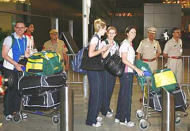 Australian athletes arrive at the Indira Gandhi airport on Monday