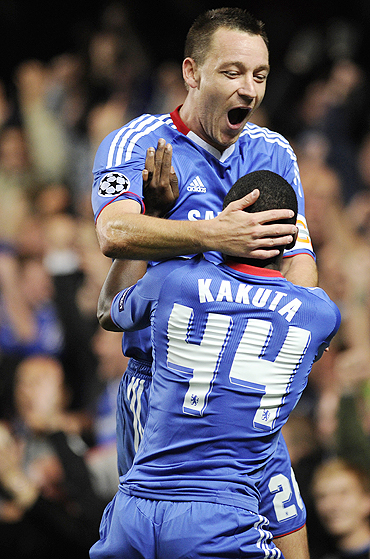 Chelsea's John Terry celebrates with Gael Kakuta after scoring against Olympique Marseille