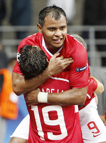 Spartak Moscow's Ari (top) celebrates with teammate Nicolas Pareja after scoring against Zilina