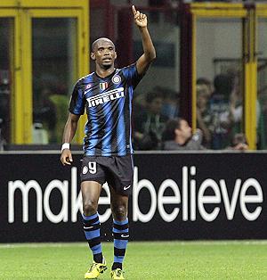 Inter Milan's Samuel Eto'o celebrates after scoring against Werder Bremen on Wednesday