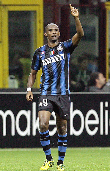 Inter's Samuel Eto'o celebrates after scoring against Wereder Bremen