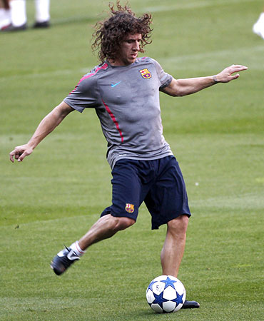 Barcelona's player Carles Puyol during a training session at Nou Camp