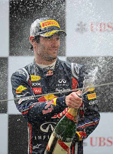 Mark Webber reacts during the Chinese Grand Prix