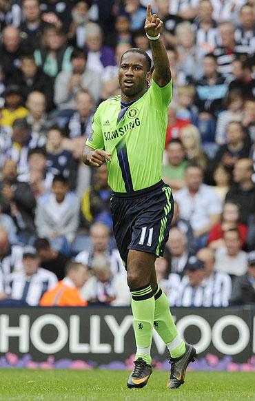 Chelsea's Didier Drogba celebrates scoring against West Bromwich Albion