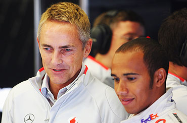 McLaren's Team Principal Martin Whitmarsh with Lewis Hamilton