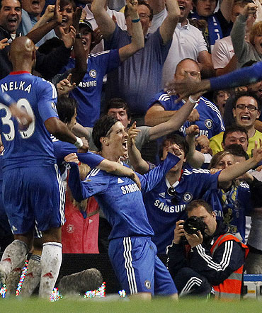 Chelsea's Fernando Torres celebrates after scoring against West Ham