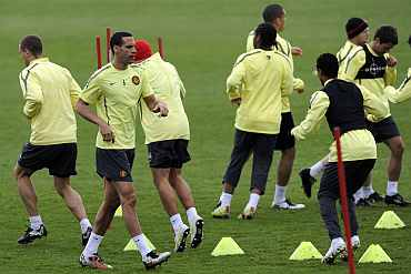 Manchester United players during a training session