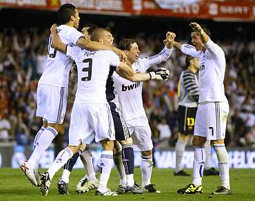 Real Madrid players celebrate after winning the Kings Cup