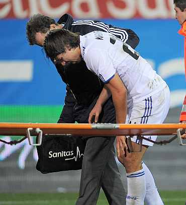 Sami Khedira walks off the pitch