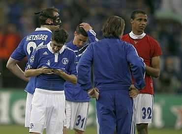 Schalke players after their Champions League semi-final first leg soccer match against Manchester United in Gelsenkirchen