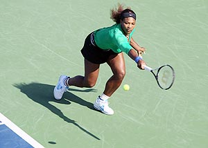 Serena Williams returns to Lucie Hradecka