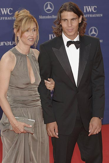 Rafael Nadal with his mother Ana Maria at the Laureus World Sports Awards in 2006
