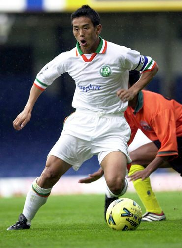 Bhutia on the ball during a friendly between India and Bangladesh at Filbert Street, Leicester, in 2000
