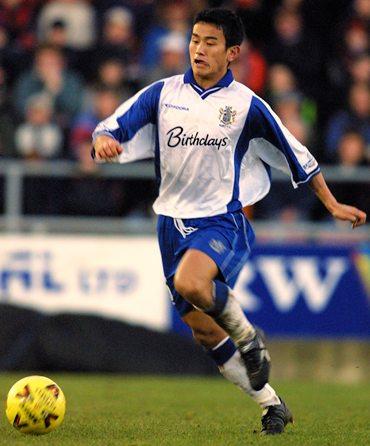 Bhutia in FC Bury colours