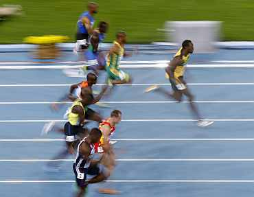 Usain Bolt in action during his men's 100 metres heat at the IAAF World Championships in Daegu