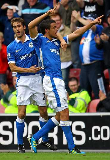 Franco Di Santo celebrates after scoring against QPR