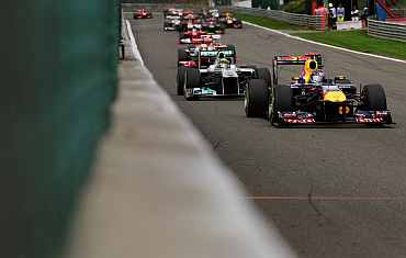 Sebastian Vettel drives during the Belgian Formula One Grand Prix