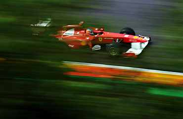 Fernando Alonso drives during the Belgian Formula One Grand Prix