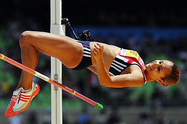 Jessica Ennis of Great Britain competes in the high jump in the women's heptathlon at the Daegu Stadium on Monday