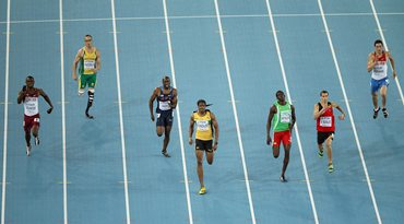 (From left to right): Femi Ogunode of Qatar, Oscar Pistorius of South Africa, Greg Nixon of United States, Jermaine Gonzales of Jamaica, Rondell Bartholomew of Grenada, Jonathan Borlee of Belgium and Pavel Trenikhin of Russia compete in the men's 400m semi-finals.