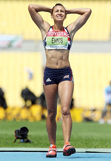 Jessica Ennis of Great Britain reacts during the javelin throw in the women's heptathlon on Tuesday