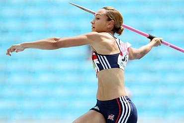 Jessica Ennis competes in the javelin throw in the women's heptathlon on Tuesday
