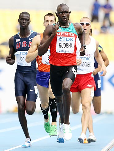 David Lekuta Rudisha of Kenya leads during the men's 800 metres heats on Saturday