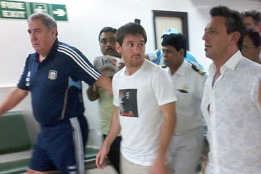 Lionel Messi arrives at the Kolkata international airport amid tight security