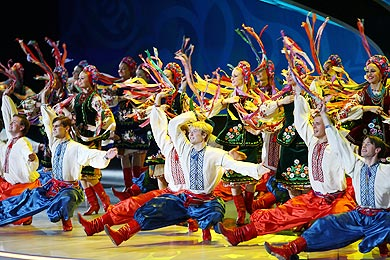 Pavlo Virsky Ukrainian National Folk Dance Ensemble perform during the UEFA EURO 2012 final draw ceremony