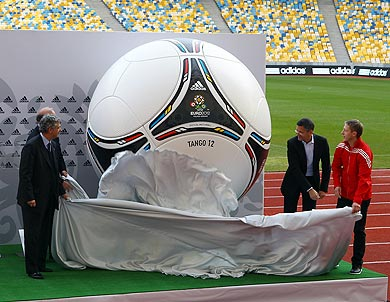 The official adidas ball is unveiled inside the Olympic Stadium before the UEFA EURO 2012 final draw ceremony