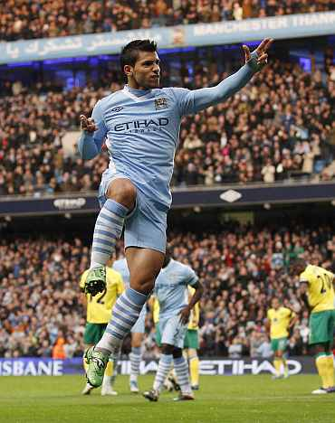 Sergio Aguero celebrates after scoring against Norwich City
