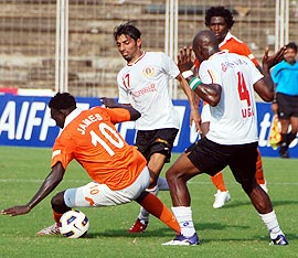 Sporting Clube de Goa players in action with East Bengal players