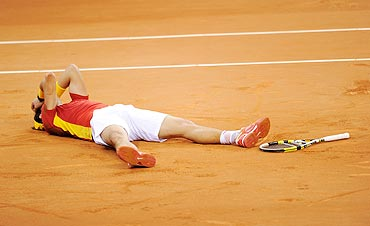 Rafael Nadal of Spain celebrates matchpoint