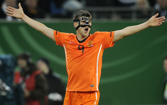 Forward Klaas-Jan Huntelaar of the Netherlands, wearing a protective mask, in the friendly match against Germany in Hamburg