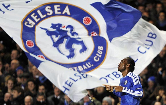 Chelsea's Didier Drogba celebrates after scoring his second goal against Valencia