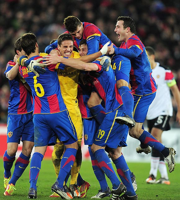 Basel players celebrate after defeating Manchester United on Wednesday