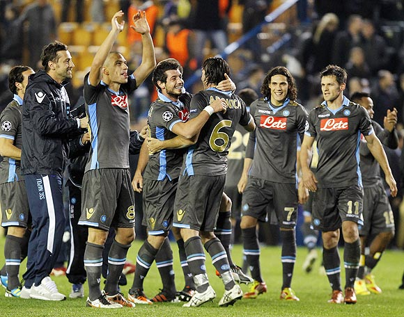 Napoli's players celebrate their victory over Villarreal