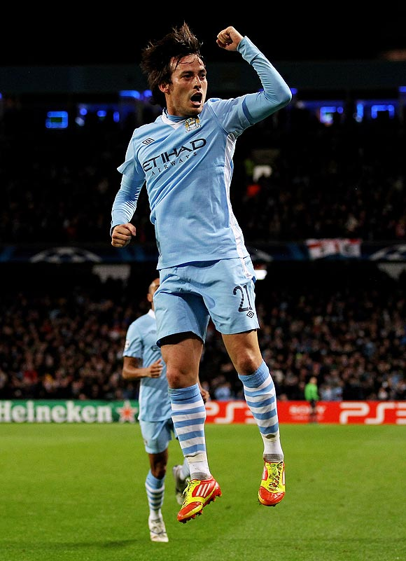 David Silva celebrates after scoring the opening goal