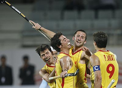 Spain's Roc Oliva (second right) celebrates with team-mates