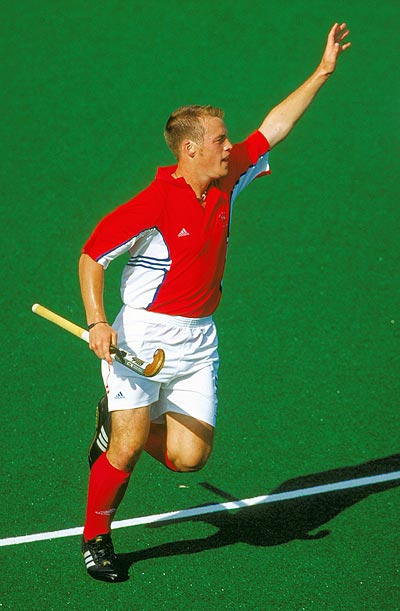 Mark Pearn of Great Britain celebrates his goal