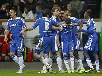 Chelsea players cel;ebrate a goal