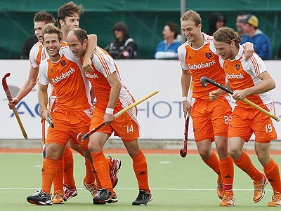 Jeroen Hertzberger, Teun de Nooijer, Billy Bakker and Bob de Voogd of the Netherlands celebrate