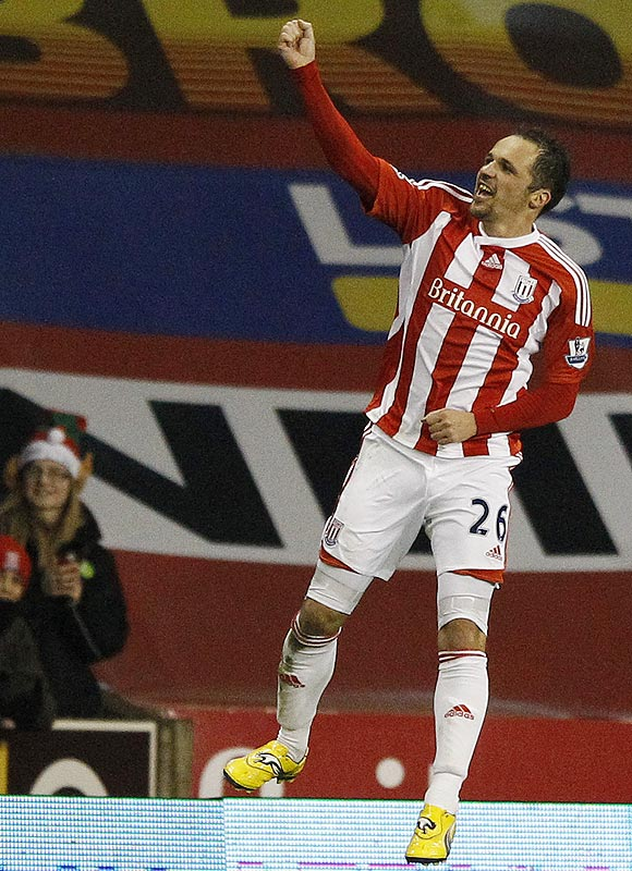 Stoke City's Matthew Eherington celebrates his second goal against Tottenham Hotspur