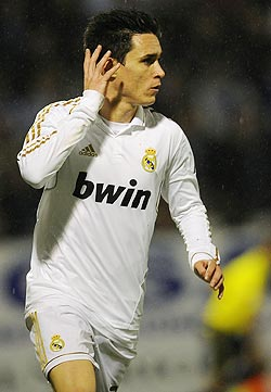 Real Madrid's Jose Callejon celebrates after scoring against Ponferradina
