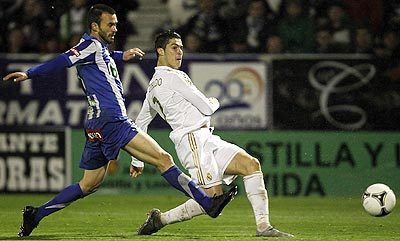 Cristiano Ronaldo of Real Madrid shoots to score